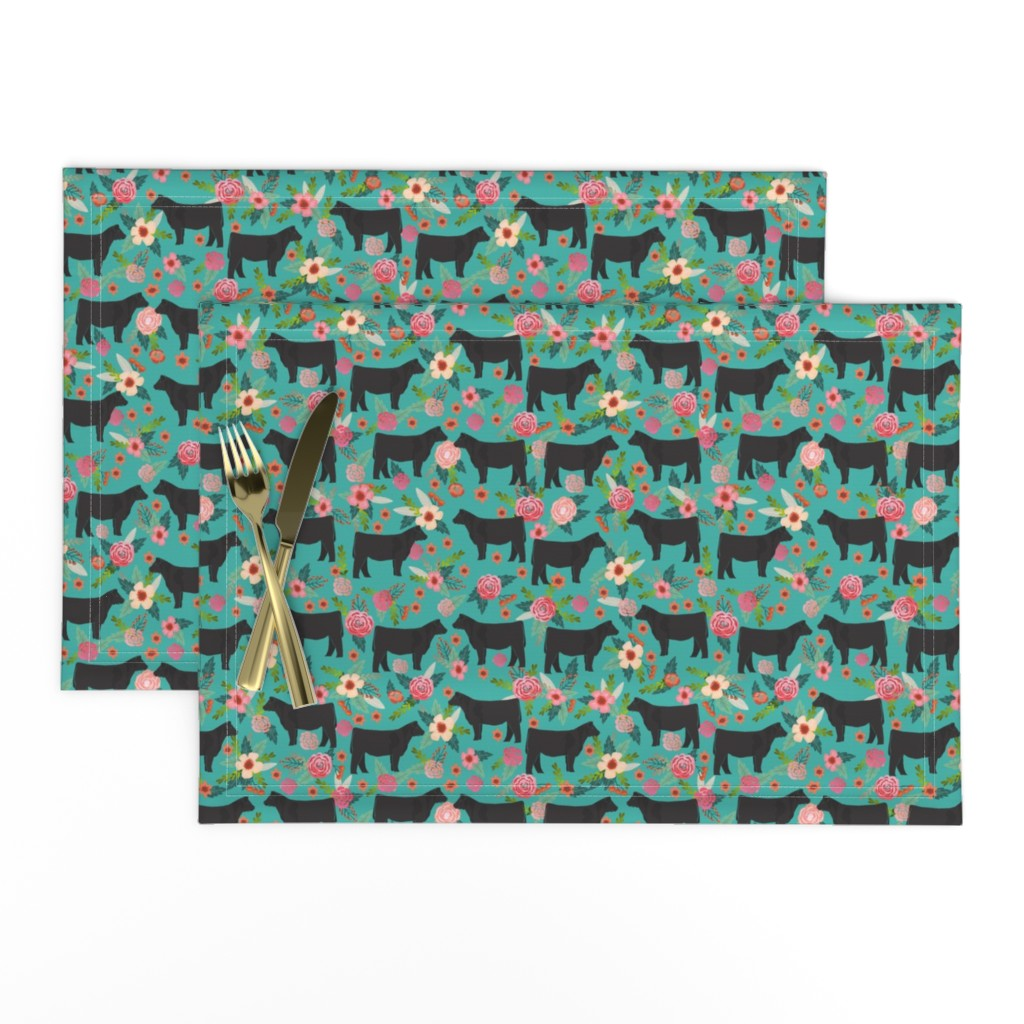 Lamona Cloth Placemats featuring steer floral fabric show steer cows farm barn fabric florals design - turquoise by petfriendly