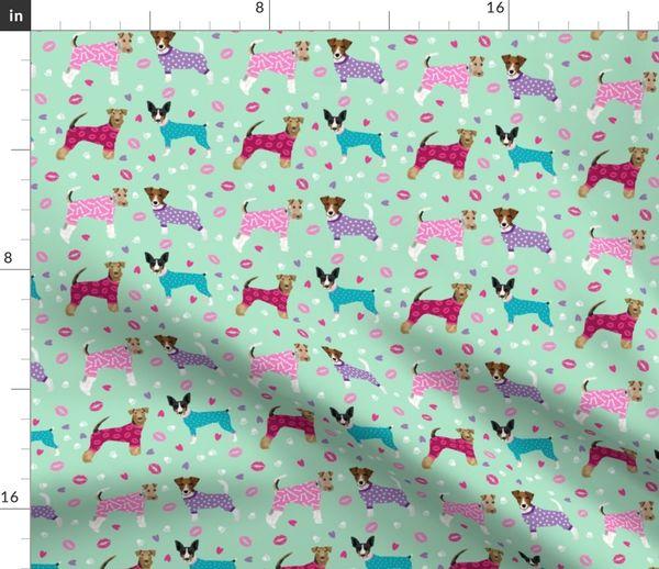 Terriers In Pyjamas Fabric Dogs