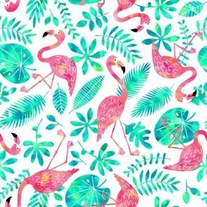 Flamingo jungle watercolor white mint