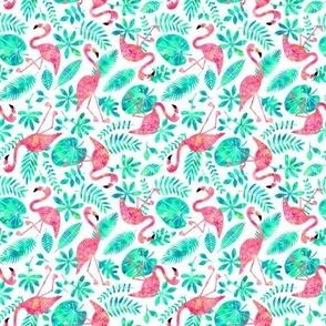 Flamingo jungle watercolor white mint (small)