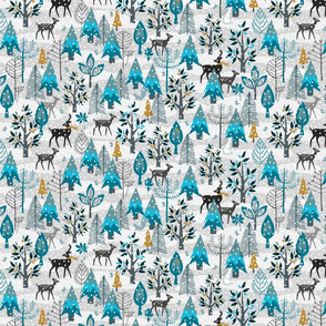 Winter Snow Woodland Animals - Gold