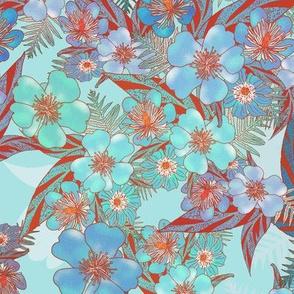 Silky Floral Aqua Rust 300