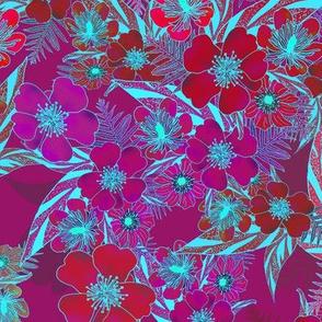Silky Floral Red Aqua 300