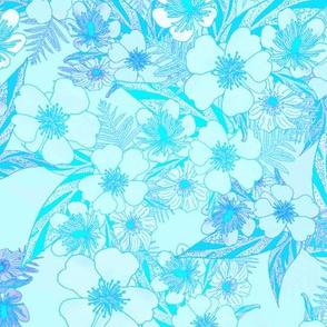 Silky Floral Aqua White 300