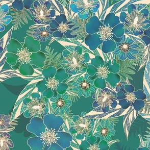 Silky Floral Teal Green 300