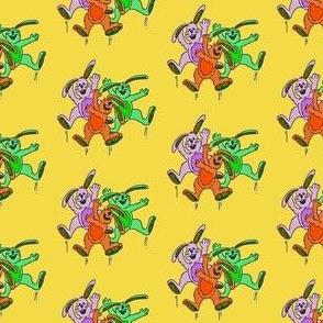 Three cartoon bunnies