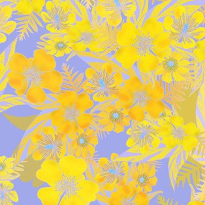 Silky Floral Gold Lavender 300