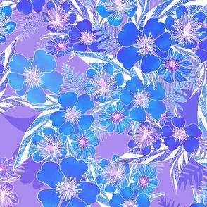 Silky Floral Blue on Lavender 300