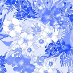 Silky Floral Sketch Blue 300