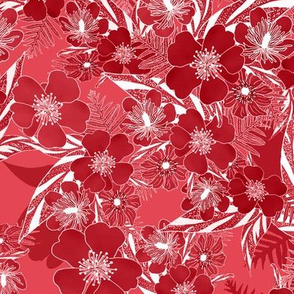 Silky Floral Ginger Red 300