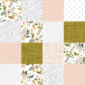 blush sprigs and mustard patchwork wholecloth
