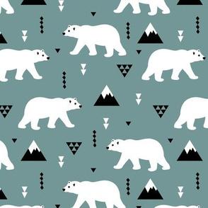 Cute polar bear blue gray winter mountain geometric triangle print