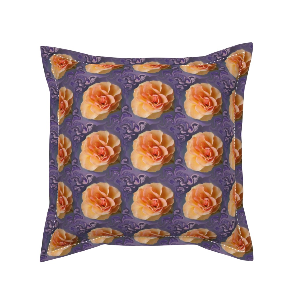 Serama Throw Pillow featuring Apricot Roses on Lavender Swirls by maryyx
