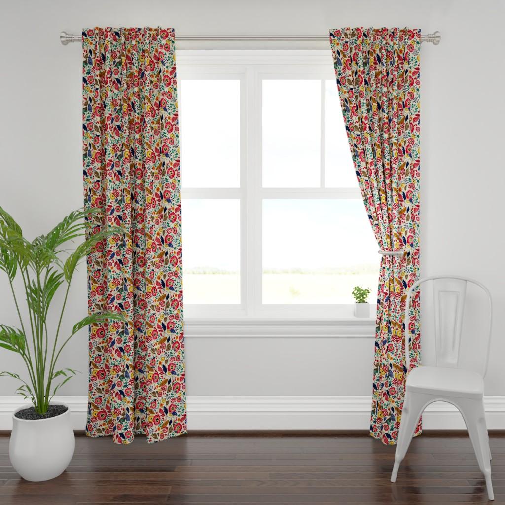 Plymouth Curtain Panel featuring Botanical Block Print by sarah_treu