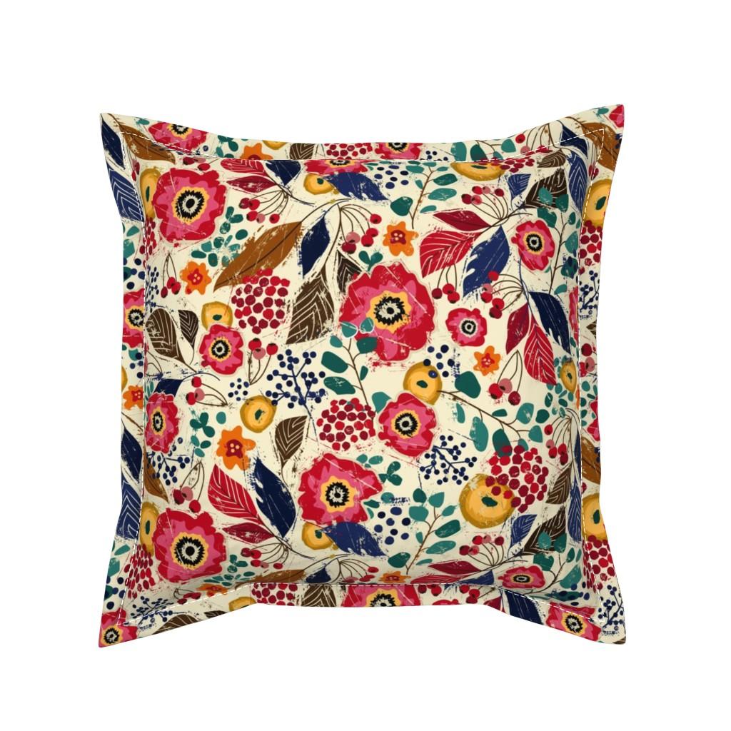 Serama Throw Pillow featuring Botanical Block Print by sarah_treu