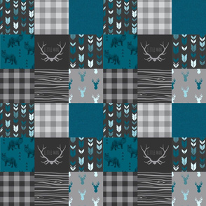 "3"" squares Fox and Deer Wholecloth Patchwork Quilt - blue, teal, black, grey, Buffalo Plaid, antlers, tribal arrows"