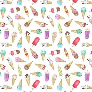 Ice Creams and Lollies on white - 1 inch