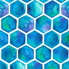 Turquoise and Green Watercolour Hexagons