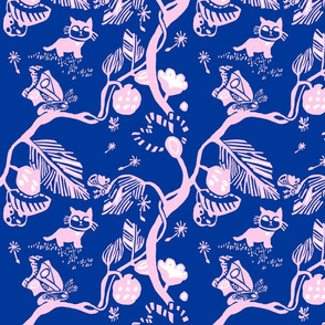 Cat and Moth  in pink and navy