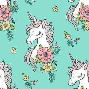 Dreamy Unicorn & Vintage Boho Flowers on Mint Green