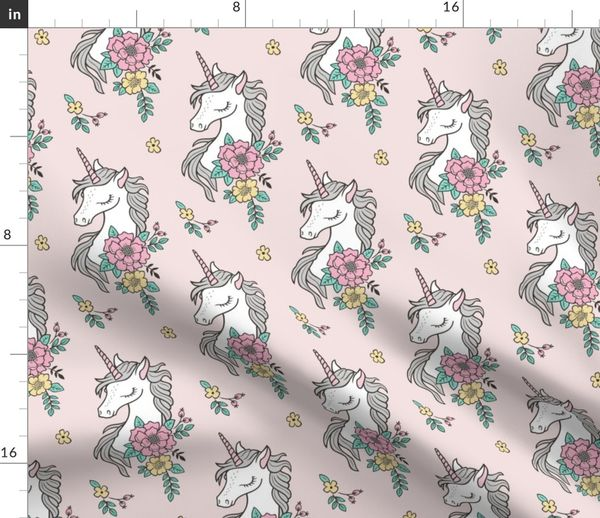 60bea1c32e0 Fabric by the Yard. Dreamy Unicorn & Vintage Boho Flowers ...