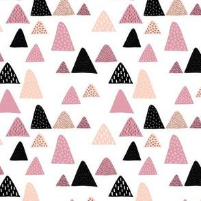Abstract geometric triangle mountain peak winter Scandinavian style pink XS