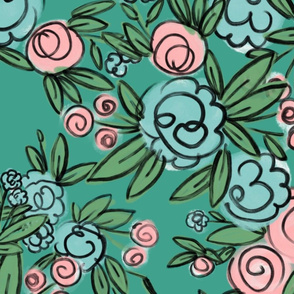 Averie Floral on Turquoise