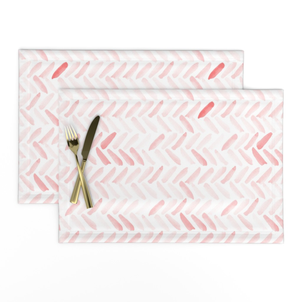Lamona Cloth Placemats featuring Pink Watercolor Herringbone by laurapol
