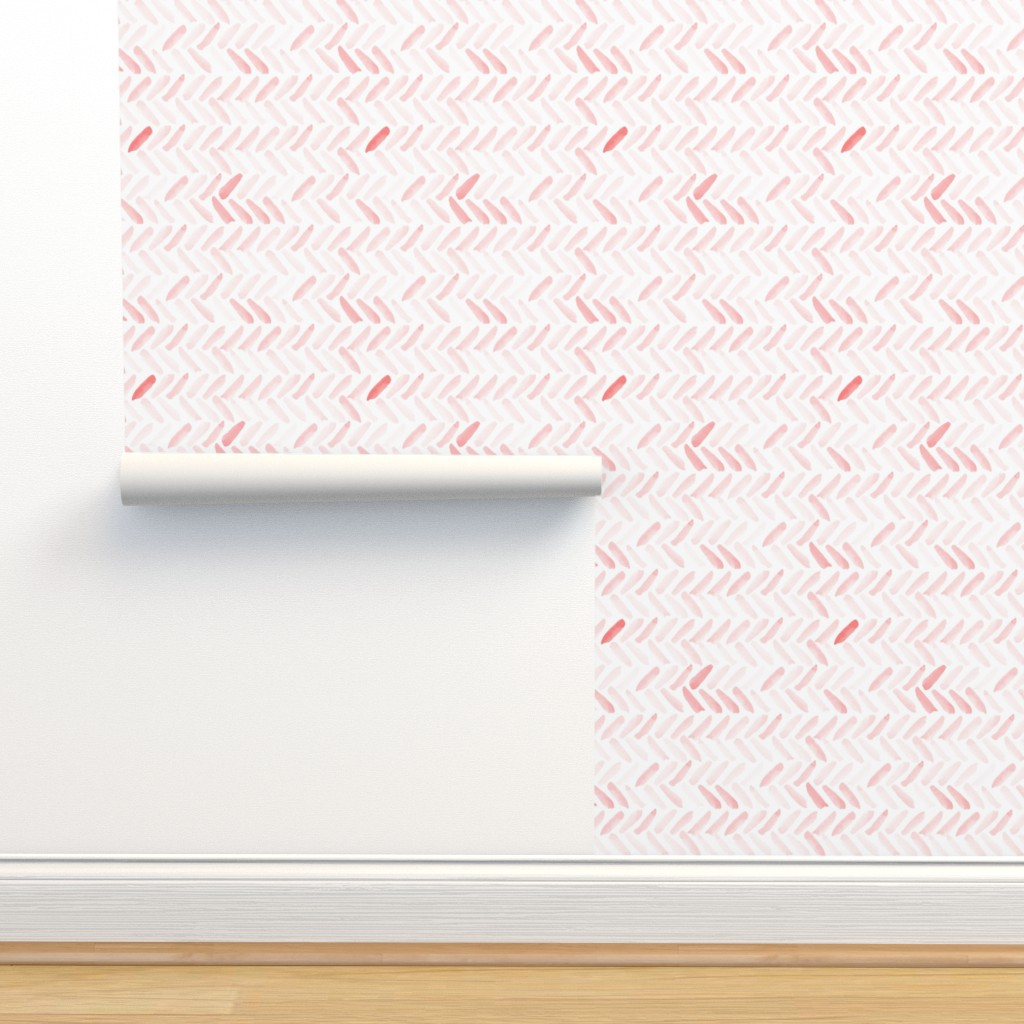 Isobar Durable Wallpaper featuring Pink Watercolor Herringbone by laurapol
