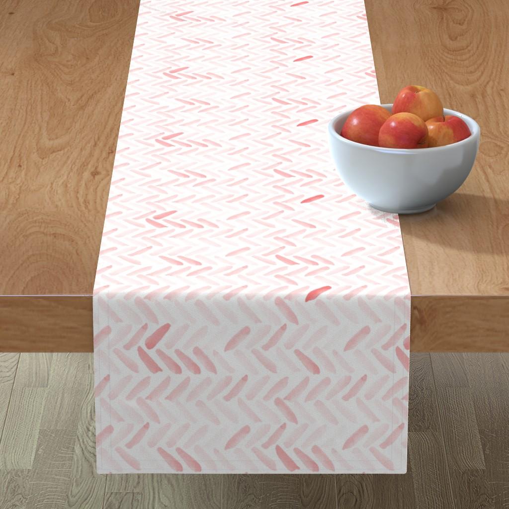 Minorca Table Runner featuring Pink Watercolor Herringbone by laurapol