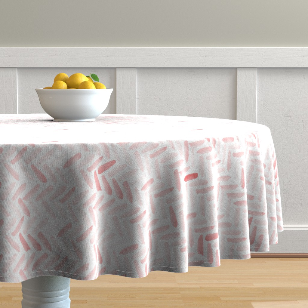 Malay Round Tablecloth featuring Pink Watercolor Herringbone by laurapol