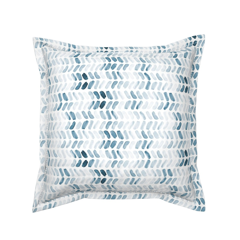 Serama Throw Pillow featuring Navy Blue Watercolor Herringbone by laurapol