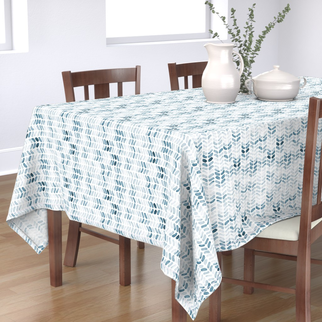 Bantam Rectangular Tablecloth featuring Navy Blue Watercolor Herringbone by laurapol
