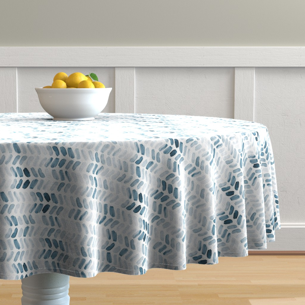 Malay Round Tablecloth featuring Navy Blue Watercolor Herringbone by laurapol