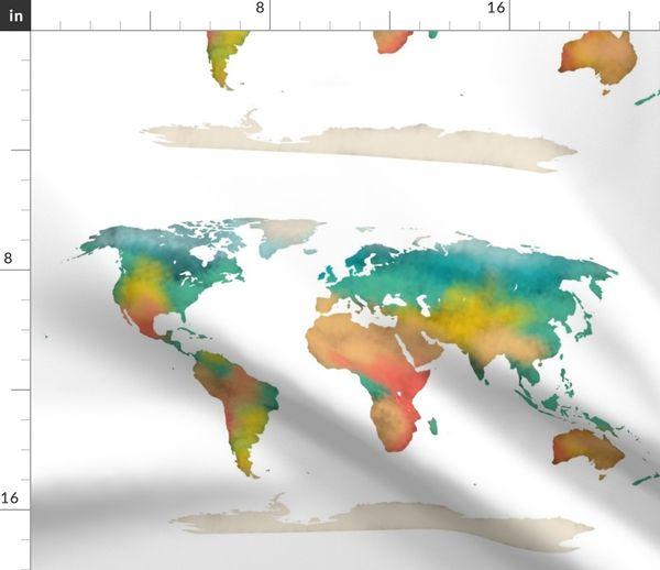 Watercolor World Map Spoonflower