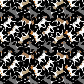 Trotting Rat terriers and paw prints B - black
