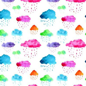 Colorful clouds, watercolor