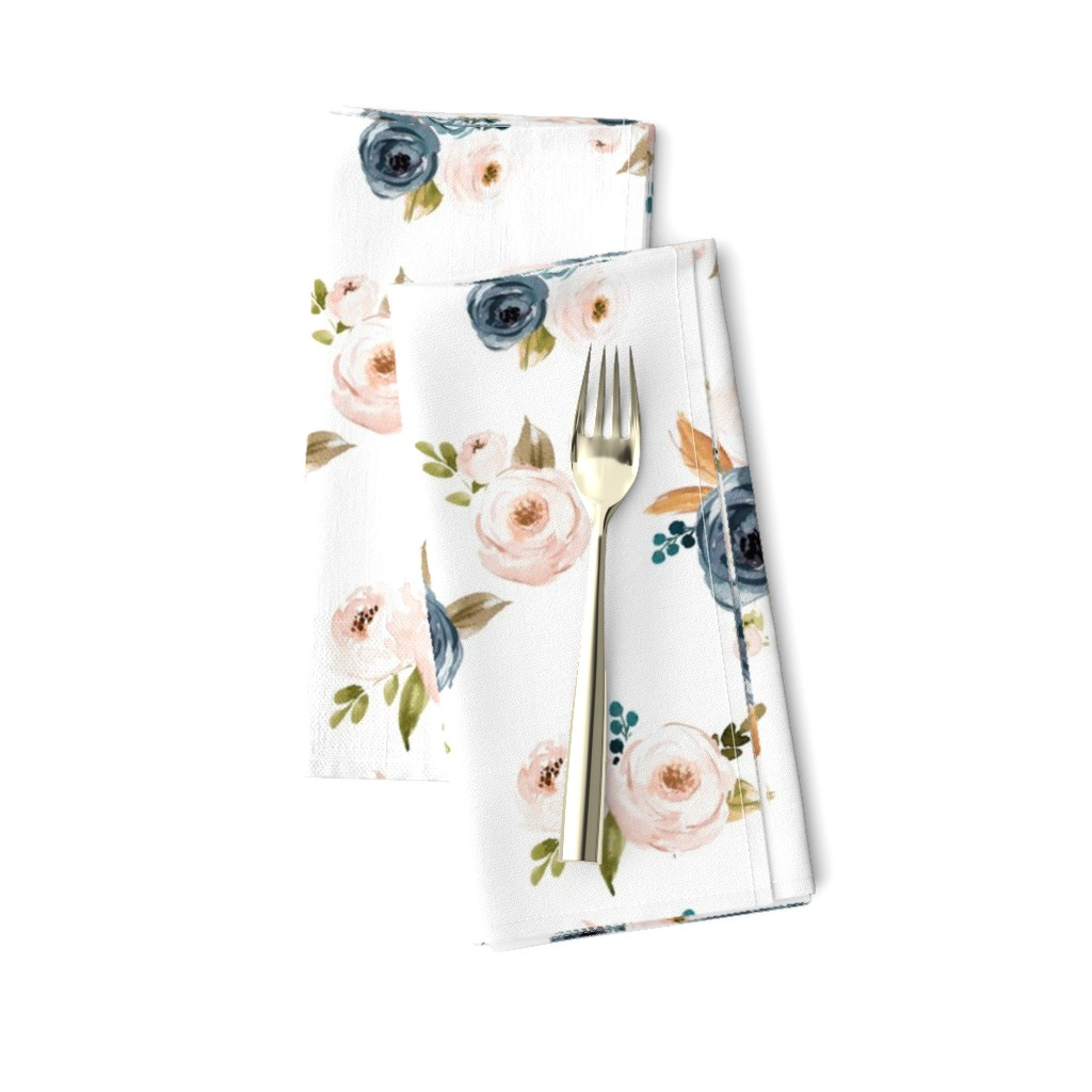 Amarela Dinner Napkins featuring Blush Pink and Blue Floral by hudsondesigncompany