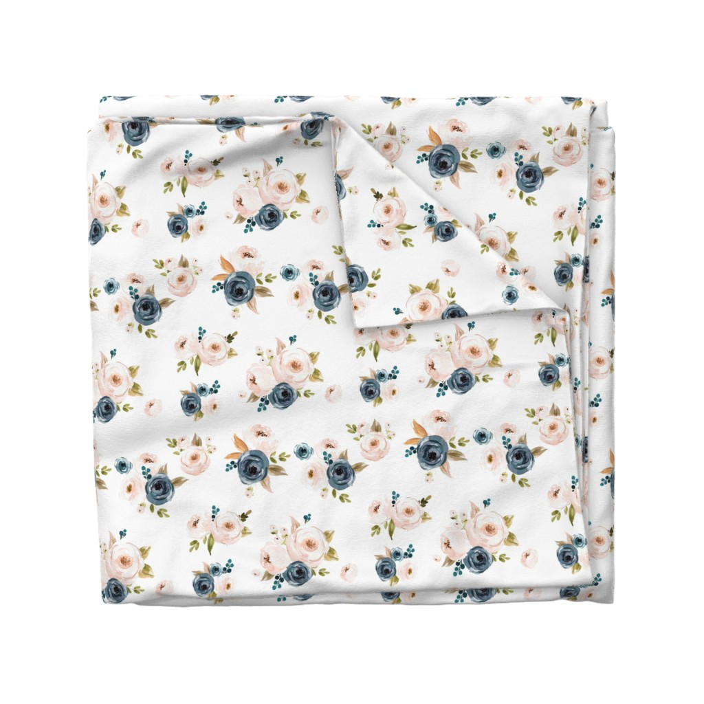 Wyandotte Duvet Cover featuring Blush Pink and Blue Floral by hudsondesigncompany