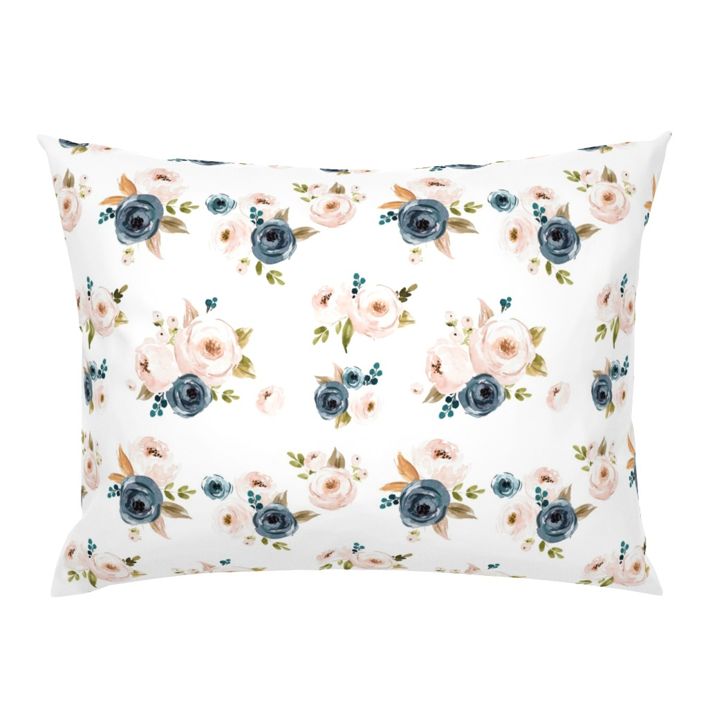 Campine Pillow Sham featuring Blush Pink and Blue Floral by hudsondesigncompany