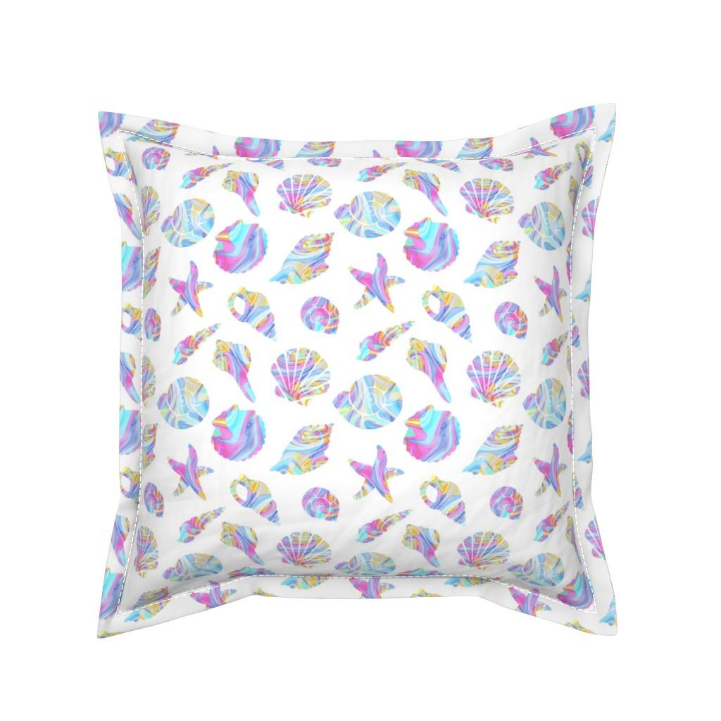 Serama Throw Pillow featuring Pastel Rainbow Mermaid Seashells by elliottdesignfactory