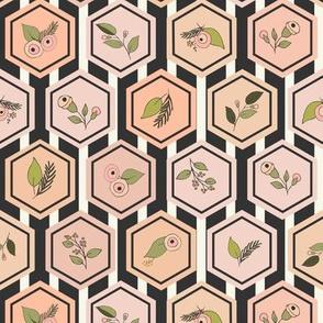 Floral Hexagon Stripe - Blush