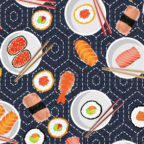 Sashiko Hexagon Sushi Party