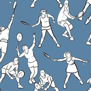 Tennis on Medium Blue