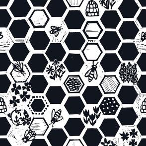 linocut hexagons