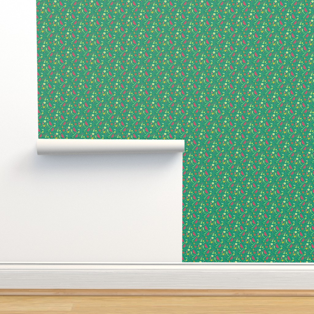 Isobar Durable Wallpaper featuring Garden_Delights_Medley_Teal_FINAL_150dpi by johannaparkerdesign