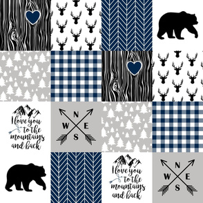 To The Mountains - Wholecloth Cheater Quilt - Navy