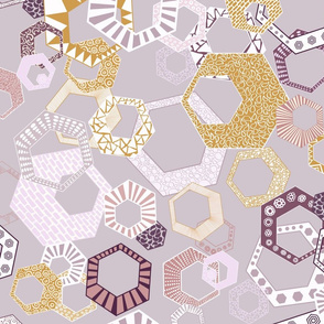 Hexagons Seamless Repeating Pattern on Purple