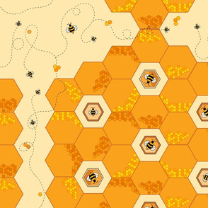 Hexagon Honeycomb Bees