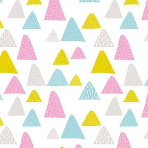 Summer mountain triangle colorful mountains woodland pink blue